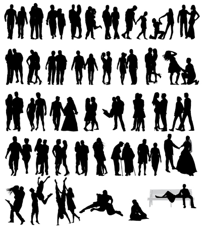 a marriage meeting: Couple people silhouettes Illustration