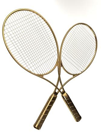 raquet: Gold tennis rackets.