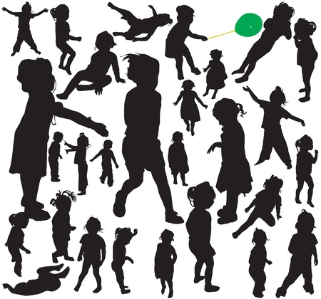 throwing: Vector silhouettes of little girl in action