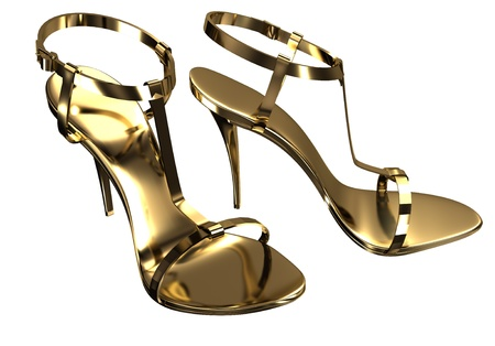 opentoe: Gold open-toe sandals