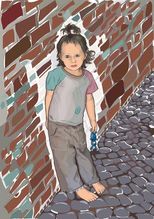 runaway: La ni�a se apoy� contra la pared Vectores