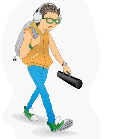Student in a hurry Stock Vector - 16797442