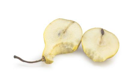 Bitten pear slices Stock Photo