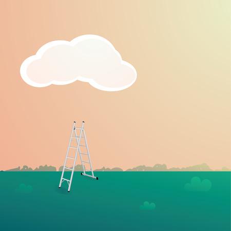stepladder: Stepladder under the cloud