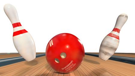 ボウリングのボールとピン 写真素材