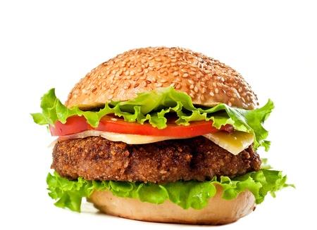 hamburger isolated on white Stock Photo - 8459908
