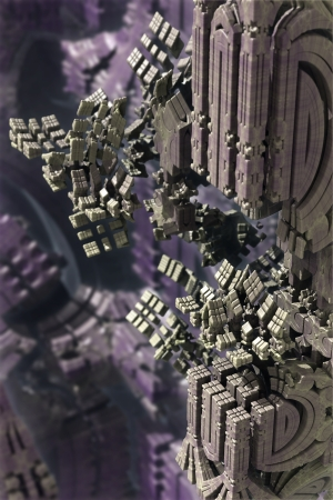 raytracing: 3d fractal, ancient bulding exploding
