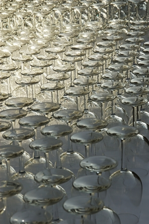 Many glasses ready for a dinner in restaurant Stock Photo - 18446698