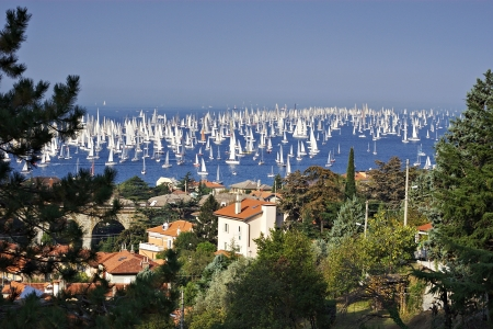 barcolana: Thousands of sails racing in the Adriatic sea during the Barcolana regatta