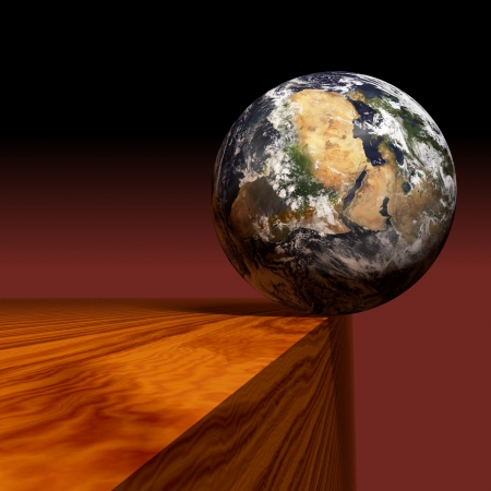 The world on the edge. Elements of this image furnished by NASA.