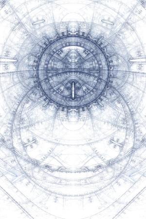 magick: Asbtract old alchemic symbols theme, blue on white Stock Photo