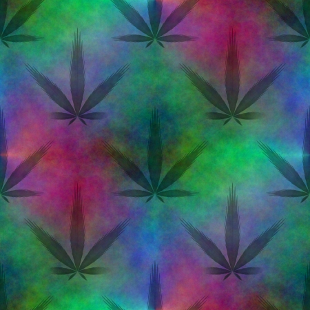 thc: Seamless tileable fractal marijuana leaf on a fantasy colored background Stock Photo