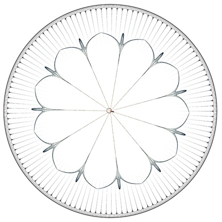 rose window: Rosone illustrazione, colori pastello scuro su sfondo bianco