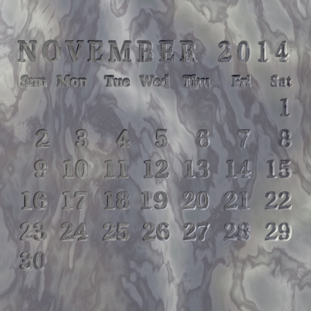 commemorative: Calendar 2014 engraved in stone, November  Other months available, written each on a different stone