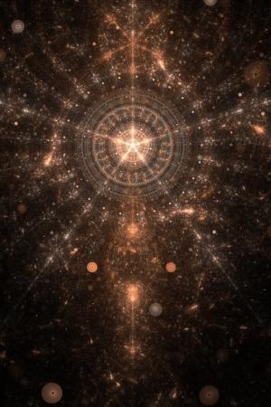 抽象的な古い錬金術シンボル テーマ、黒に茶色