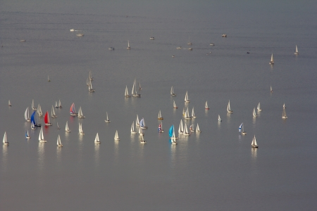 barcolana: Group of sails after the start of the 2013 edition of the Barcolana regatta in the gulf of Trieste, Italy
