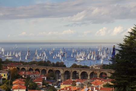 barcolana: Trieste, Italy - October, 13  group of sails are reaching the start line of the 45th Barcolana regatta at Trieste, Italy on October 13, 2013  More than 1500 boats took part in the race  Editorial
