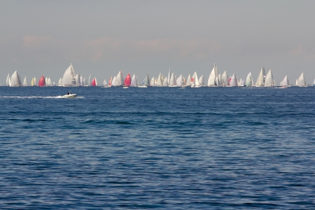 barcolana: Trieste, Italy - October, 13  group of sails toward the finish of the 45th Barcolana regatta at Trieste, Italy on October 13, 2013