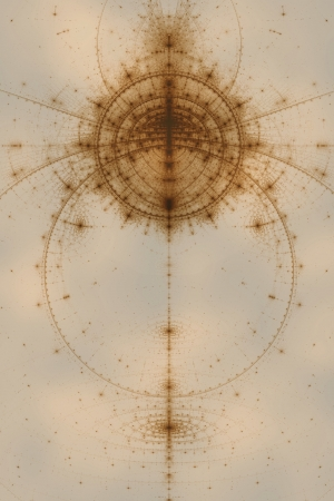 arcane: Abstract old alchemic symbols theme, sepia over light cloudy background Stock Photo