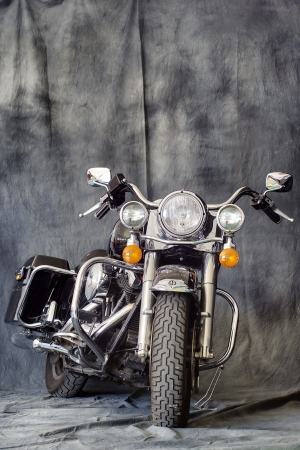 TRIESTE, ITALY - JUNE 6, 2010: front view of a Harley Davidson Road King shown in an exhibition in Trieste, Italy.