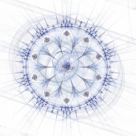 magick: Abstract mandala or rose wheel, blue over white background Stock Photo