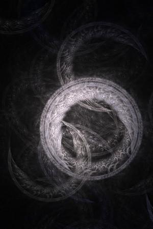 抽象的な古い錬金術シンボルのテーマ, 白黒い背景上