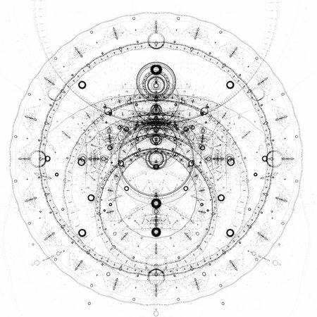 抽象的な古い錬金術シンボル、黒に白の背景の上ダイヤルします。