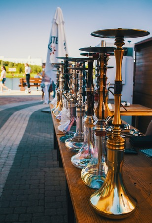 hookahs fabrication in a row outdoors