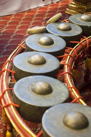 thai musical instrument: gong,thai musical instrument. Stock Photo