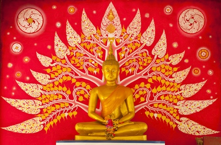 Golden Buddha statue inside a temple. Stock Photo
