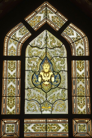 Stained glass window of angel, Wat Benjamobopith, Bangkok Thailand Editorial