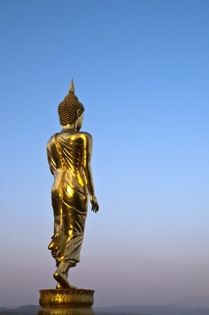 Buddha Standing Color Gold in Background blue sky. photo