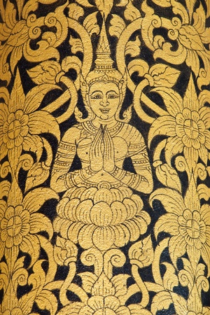 Thai art wall pattern in Temple of Thailand. photo