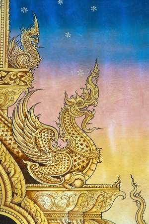 Thai art wall pattern in Temple of Thailand.