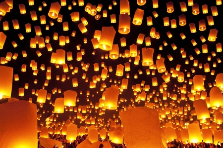 Thailand, Loy Krathong and Yi Peng Festival Chiang Mai Province at night photo