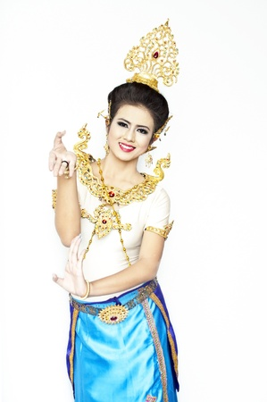 Beautiful lady dancing for original Thai dance