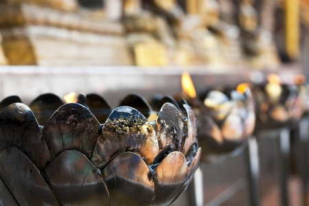 Coconut oil lamps in a buddhist temple shallow focus photo