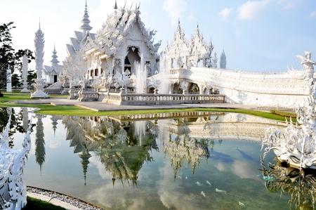 Wat Rong Khun ,details of white temple platform