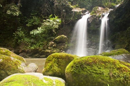 Waterfall in forest . Waterfall is a place that will make you relax and fresh . in Nan Province of Thailand Stock Photo