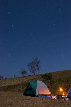 roughing: Illuminated Camping tent at Night