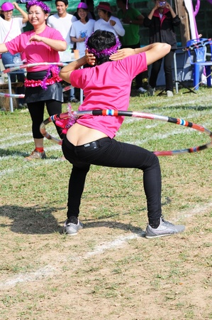 mam: Sport Mam with hula hoop Show in Sport Day of thailand
