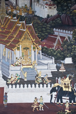 Vintage traditional Thai style art painting on temple for background. The temple is open to the public domain and has beautiful murals on the walls. Stock Photo - 11414467
