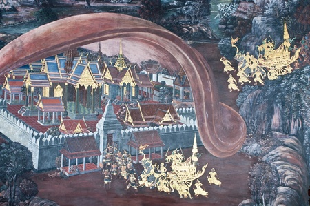 Vintage traditional Thai style art painting on temple for background. The temple is open to the public domain and has beautiful murals on the walls. Stock Photo - 11414495