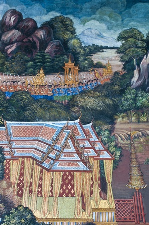 Vintage traditional Thai style art painting on temple for background. The temple is open to the public domain and has beautiful murals on the walls. Stock Photo - 11414537