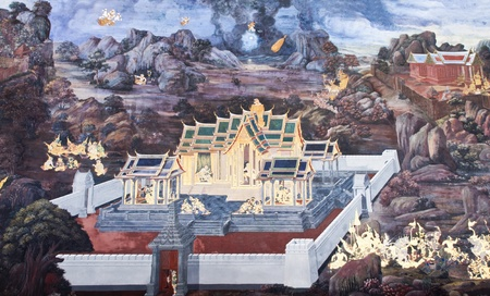 Vintage traditional Thai style art painting on temple for background. The temple is open to the public domain and has beautiful murals on the walls. Stock Photo - 11414463