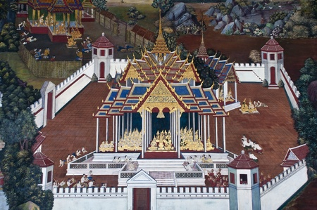Vintage traditional Thai style art painting on temple for background. The temple is open to the public domain and has beautiful murals on the walls. Stock Photo - 11414475
