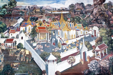 Vintage traditional Thai style art painting on temple for background. The temple is open to the public domain and has beautiful murals on the walls. Stock Photo - 11414530