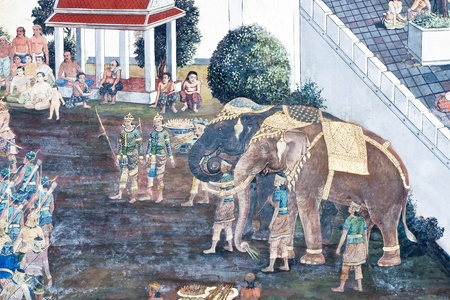 Vintage traditional Thai style art painting on temple for background. The temple is open to the public domain and has beautiful murals on the walls. Stock Photo - 11414535