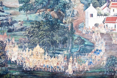 Vintage traditional Thai style art painting on temple for background. The temple is open to the public domain and has beautiful murals on the walls.
