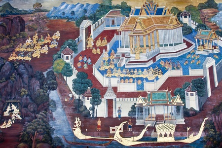 Vintage traditional Thai style art painting on temple for background. The temple is open to the public domain and has beautiful murals on the walls. Stock Photo - 11414521
